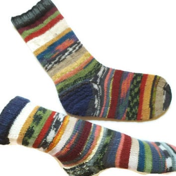Scrappy socks, Mismatched socks, Women knit wool warm socks, colorful socks, art socks, gift for friend, gift for daughter, striped socks,