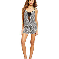 Gianni Bini Tribal Mesh-Inset Romper Coverup - Black