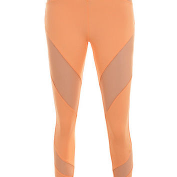 Work-Out Wear : 'Tone' Pastel Neon Orange Lycra + Mesh Leggings
