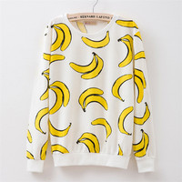 New 2015 autumn style Hoodies women Banana print women's o-neck tracksuits Hoodies harajuku women Sweatshirts