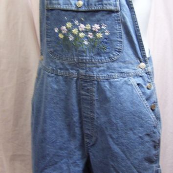 Denim Blue, Short Overalls, Jumper, Embroidered Bib, Size M Medium, Cherokee, Summer, Resort Cruise Wear,