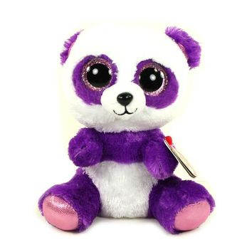 "Ty Beanie Boos 6"" Boom Boom the Purple Panda Plush Stuffed Animal Collectible Soft Big Eyes Plush Doll Toy"