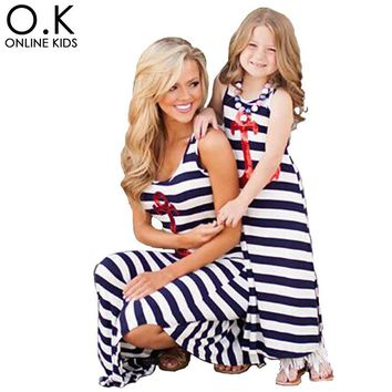 Mother Daughter Dresses Navy Striped 2016 Summer Mother Mom Daughter Clothes Sequin Anchor Sleeveless Dress For Mother Daughter