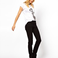 ASOS Ridley High Waist Ultra Skinny Jeans in Clean Black