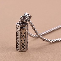 Titanium Vintage Ash Box Pendant Jewelry Pet Urn Cremation Memorial Keepsake Openable Put In Ashes Holder Capsule Chain Necklace
