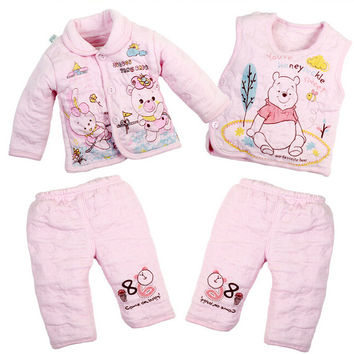 4 pcs / Winter Thick Cotton Girls or Boys Top+Bottom Sets