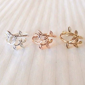 Chic Leaf Ring - Gold, Rose Gold and Silver