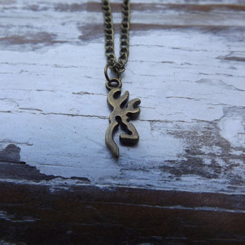 small Browning deer necklace, bronze browning deer, country jewelry, redneck, country wedding gift,cowgirl jewelry, camo hunter jewelry