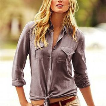 Cotton silk button down shirt from victoria 39 s secret epic for Victoria secret button down shirt
