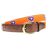 SC Clemson Gameday Leather Tab Belt in Orange Ribbon with White Canvas Backing by State Traditions