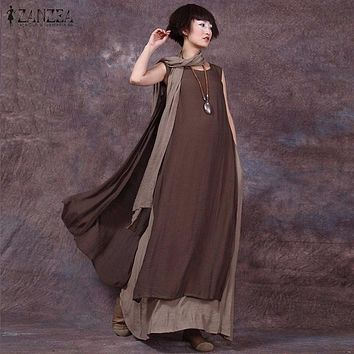 Oversized 2017 Summer ZANZEA Women Vintage Casual Loose Sleeveless Dress Sexy Ladies O Neck Splice Long Maxi Dresses Plus Size