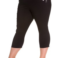 Hell Bunny Plus Size 60's Retro Pinup Love Letter Bird Black Capri Pants