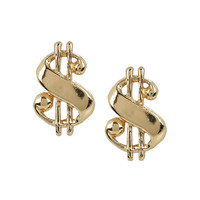 Baller Money Sign Studs in Yellow Gold