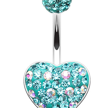 Adorable Polka Dot Heart Sparkling Belly Button Ring