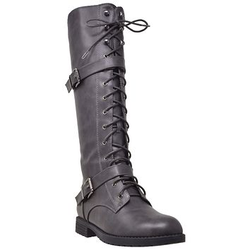 Womens Knee High Boots Combat Lace Up Buckle Block Heel Shoes Gray