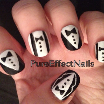 Suit & Tie Nails HandPainted  by PureEffectNails on Etsy
