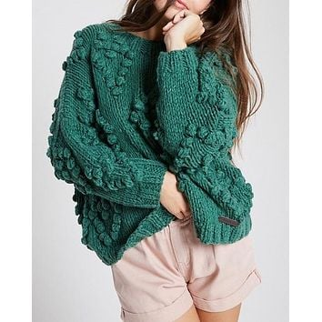 Heart On My Sleeves - handmade relaxed open knit knotted sweater - Green