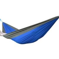 Portable Single-person Nylon Camping Hammock Nest for Travel, Hiking, Backpacking, Beach, Kayaking and Bedroom (Grey / Royal Blue)
