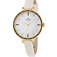 Kate Spade New York - Metro Skinny Pavé Goldtone Stainless Steel & Leather Strap Watch - Saks Fifth Avenue Mobile