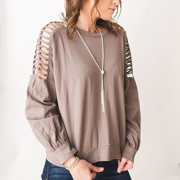 Ladder Shoulder Top - Taupe