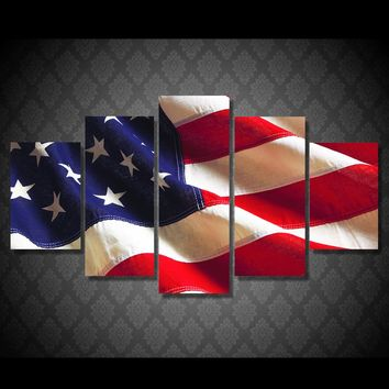 Canvas Wall Art: The American Flag Waving Wall Art Print