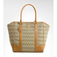 NEW! Tory Burch T Needlepoint Tote, $495, Tan brown w green ,Leather hand bag