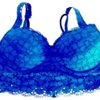 Victoria's Secret Pink Eyelash Lace Push Up Blue Bra Bralette LG NEW Style