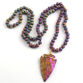 Fashion Frosted Crystal knotted  5X8 Glass Crystal and Natural Stone Arrowhead Pendant Necklaces Women Lariat Necklaces