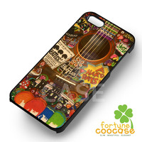 beatles stickers on acoustic-1naa for iPhone 6S case, iPhone 5s case, iPhone 6 case, iPhone 4S, Samsung S6 Edge