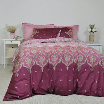 Damask Bedding in Dusty Pink, Maroon, Marsala for Full Queen King, Cotton Sateen Moroccan Style, Boho Bedding, 6 pcs Duvet Cover & Sheet Set
