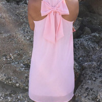 Pink Bowknot Sleeveless Mini Chiffon Dress