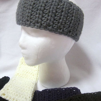 Nothing Fancy Crochet Headband, Winter Wear, Choose Your Color, Gray Ear Warmer, Black Headband, Unisex Headband, MADE TO ORDER