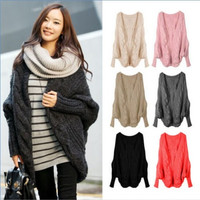 Women Oversized Loose Knitted Sweater Batwing Sleeve Jacket Sweater Coat = 1945756484