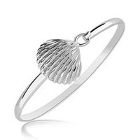 Clam Shell Motif Slim Bangle in Rhodium Plated Sterling Silver