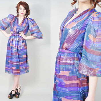 VINTAGE 70s designer couture sheer silk IKAT print metallic stripes ultra deep plunging bust pouf sleeves dress
