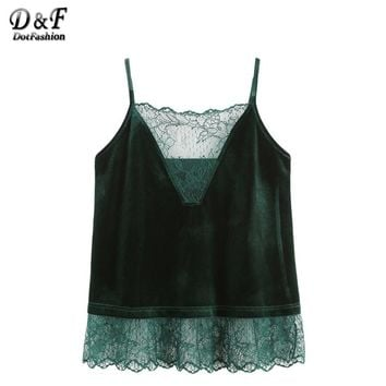 Velvet Tops Women Dark Green Patchwork Lace Trim Sexy Top Strap Clothing New Fashion Casual Camisole