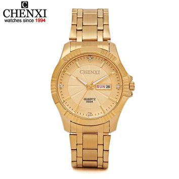 CHENXI Brands High-Quality Watches Couple Quartz Stainless Steel Gold Watch Men and Women Business Gift WristWatch Ladies