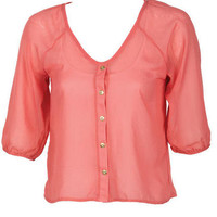 Coral and Ivory Lace Back Cutout Blouse