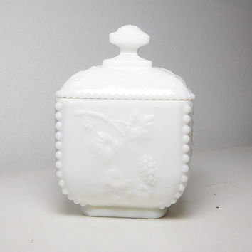 White Milk Glass Container with Lid Square Grape Design Candy Relish Makeup Trinket Jewelry Jar Vintage Cottage Farmhouse Decor Glass Box