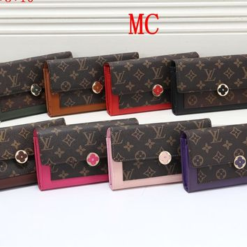 """Louis Vuitton"" Women Multicolor Retro Print Long Section Multifunction Purse Button Flip Wallet"