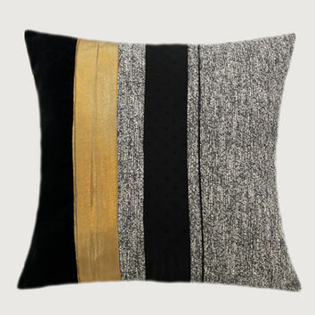 "Decorative Throw pillow cover, Black, Grey, Gold color, fits 18"" x 18"" insert, Toss pillow cover, Cushion cover."