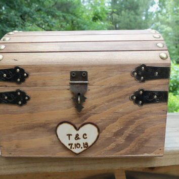 Cute Rustic Wedding Box with Personalized Heart, Slot and Lock/Key Set - Guest Book Alt, Honeymoon Fund, Wishing Well