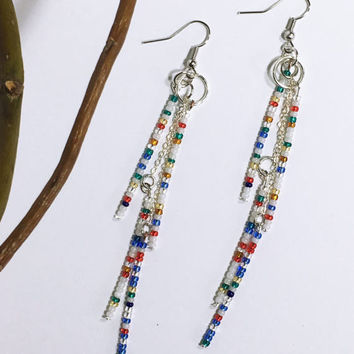 Vintage Czech beaded earrings. Antique glass seed beads. Handmade Lightweight Dangly. Boho jewelry. Tribal earrings Gift for wife girlfriend