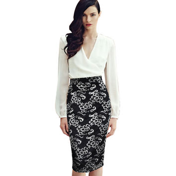 Vfemage Womens Elegant Floral Lace High Waist Elastic Wear to Work Office Party Casual Bodycon Fitted Pencil Skirt 1860