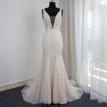 V Neck Mermaid Wedding Dresses Low Back Pearl Beaded Sleeveless Appliqued Beaded