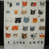 I Like Cats Kitchen Towel by LittleIslandCompany on Etsy