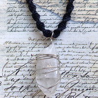 Necklace- Wire Wrapped Quartz Crystal on Black Hemp Cord
