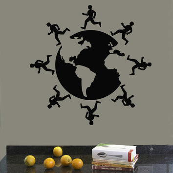 Wall Decals Vinyl Decal Sticker Art Mural Boys Decor Runners Around Globe Kj371