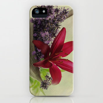 Lavender flowers and lilies flower still life iPhone & iPod Case by Tanja Riedel