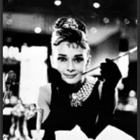 Audrey Hepburn Movie (Breakfast at Tiffany's, With Cigarette) 24x36 Dry Mounted Poster Wood Framed